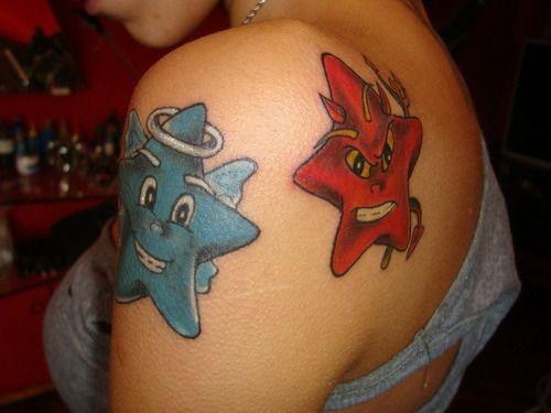 Tatuaż Gwiazdki Anioł I Diabeł