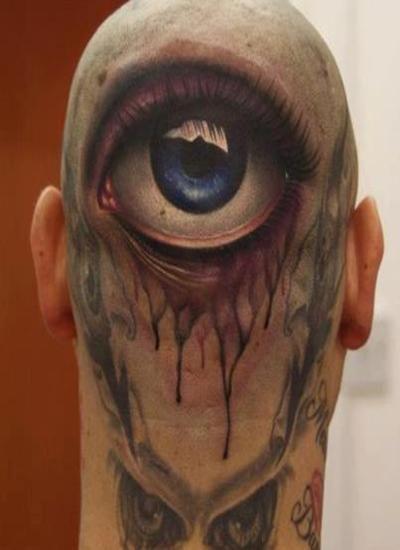 Tatuaż Na Głowie Oko 3d