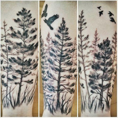 Tatuaż Drzewa I Ptaki