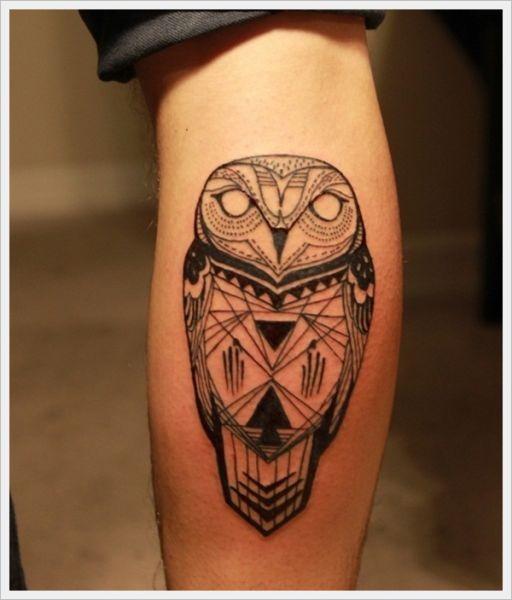 Tatuaż Sowa Na łydce