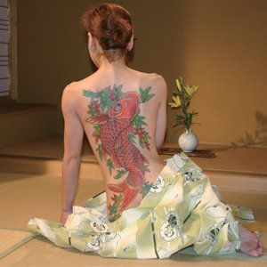koi fish back tattoo