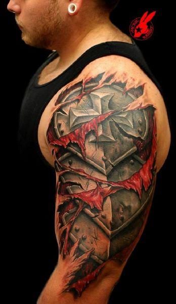 tatuaż 3d zbroja