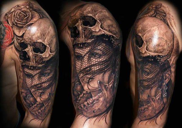 tatuaż czaszki i kobiety