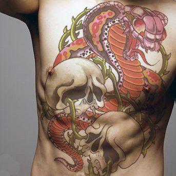 tatuaż kobra i czaszki