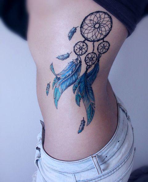 dreamcatcher side tattoo