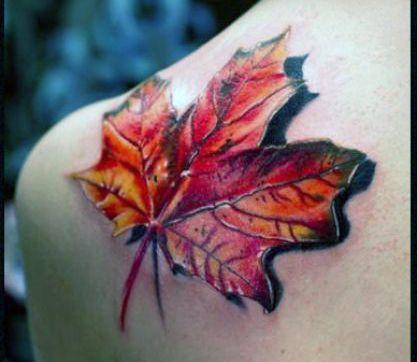 tatuaż liścia 3d