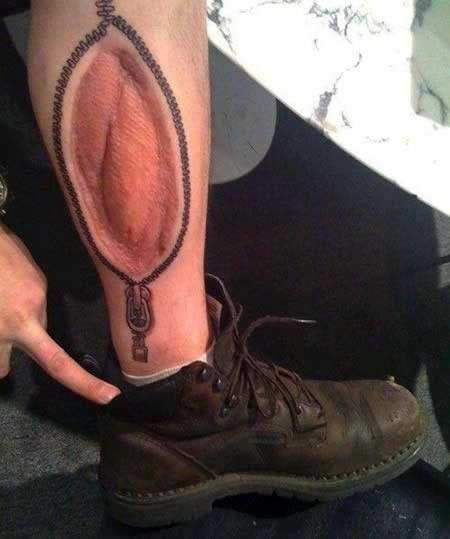 tatuaż 3d na łydce