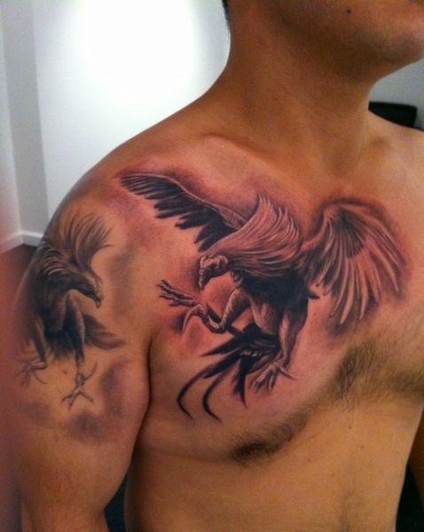 tatuaż walka kogutów