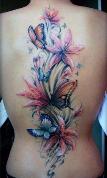 Tatuaże Damskie Kwiaty Na Plecach