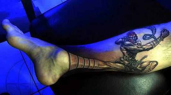 amazing 3d tattoo on leg
