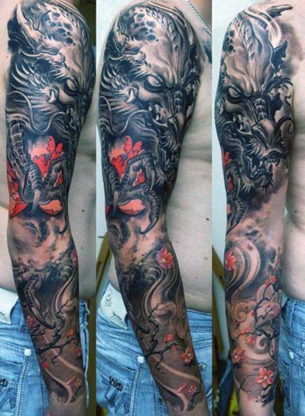tatuaże męskie smok na ręce