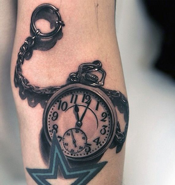 Tatuaże 3d Piękny Zegar