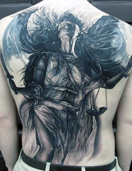 beauty angel on back tattoo