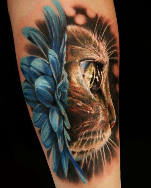 realistyczny tatuaż kota