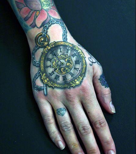 tatuaże na dłoni zegarek