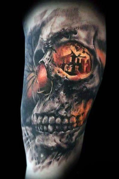 incredible 3d tattoo skull