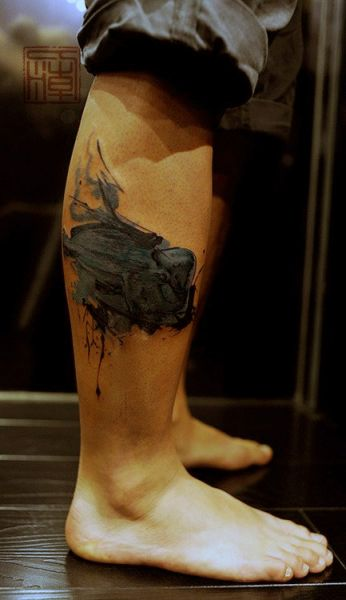 tatuaże 3d na łydce