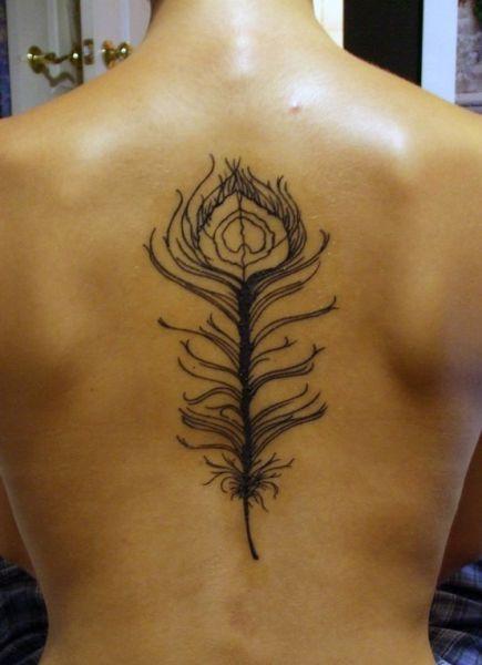 tatuaże damskie pióro na plecach