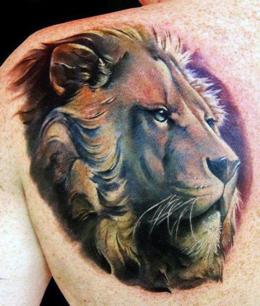 Tatuaże Męskie Lew Na Plecach