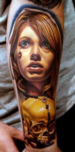tatuaże 3d czaszka i twarz kobiety