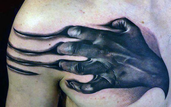 tatuaże męskie 3d na piersi