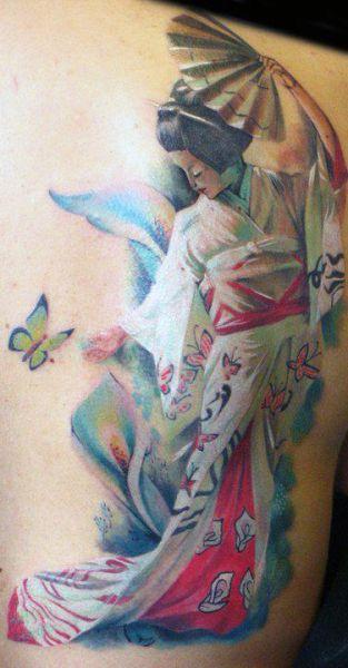 geisha back tattoo