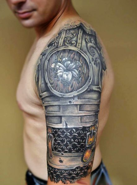 tatuaże męskie zbroja 3d