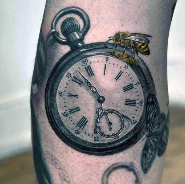 tatuaże realistyczne zegarek