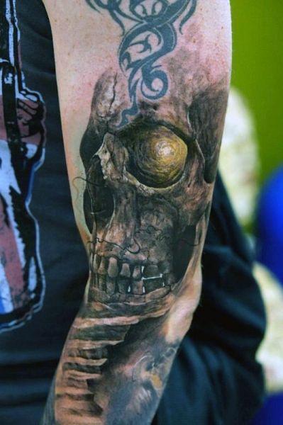 tatuaże na przedramieniu czaszka 3d