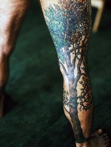 tree leg tattoo