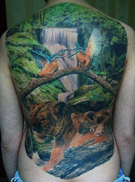 nature back tattoo