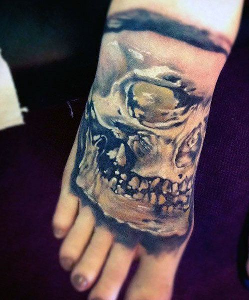 tatuaże na stopie czaszka,3d
