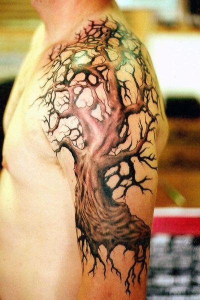 Tatuaże Męskie Drzewo Na Ramieniu