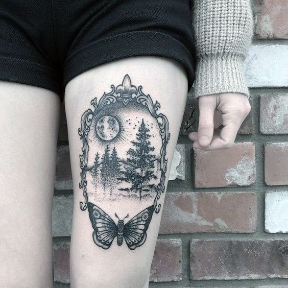 amazing women tattoo on thigh