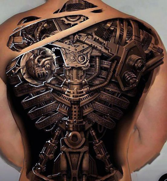 incredible biomechanical tattoo