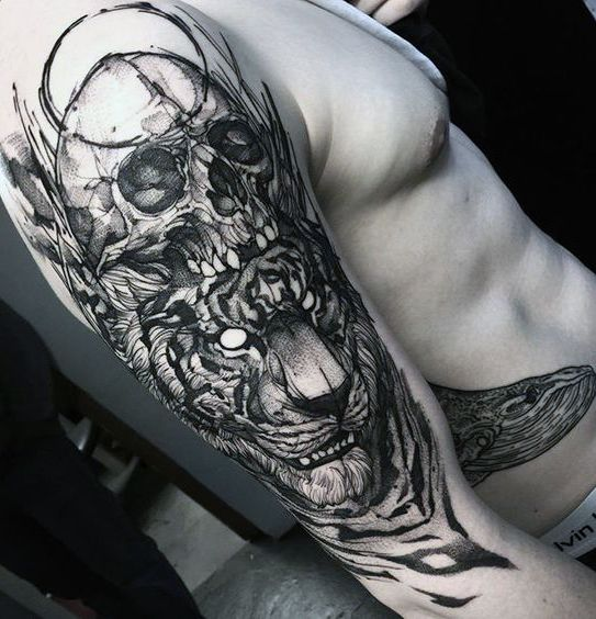 skull and tiger tattoo