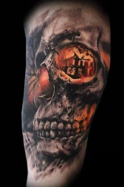 incredible 3d skull tattoo