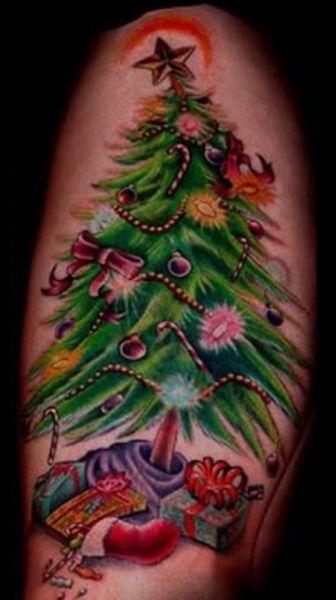 tatuaże świąteczne choinka