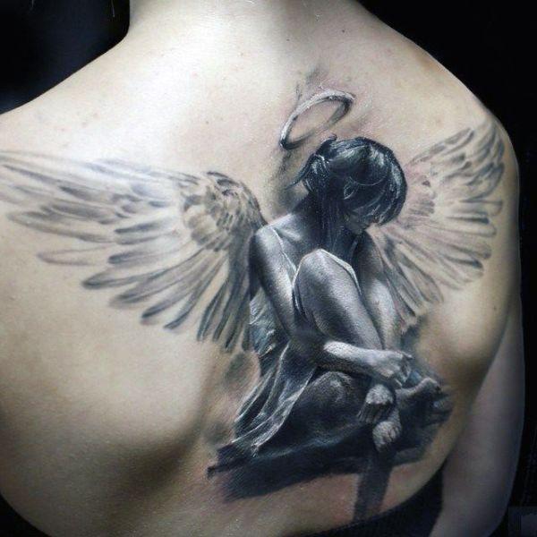 amazing 3d angel tattoo