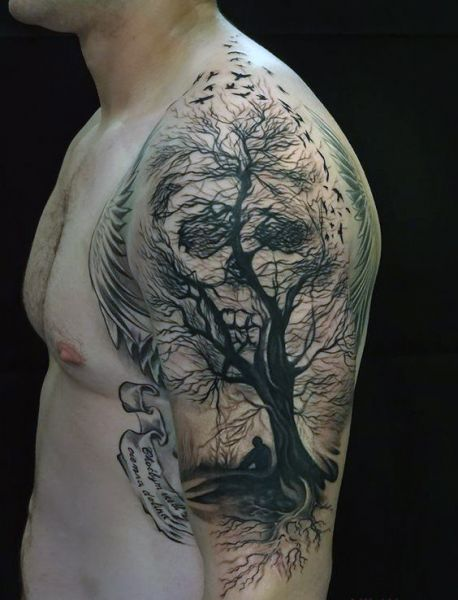 amazing skull tattoo for man