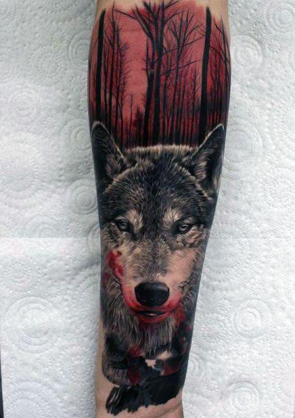 tatuaże zwierzęta wilk 3d