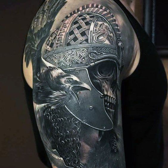 skull and crow tattoo 3d
