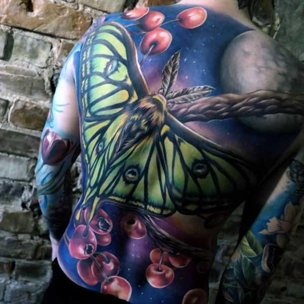 incredible moon moth back tattoo
