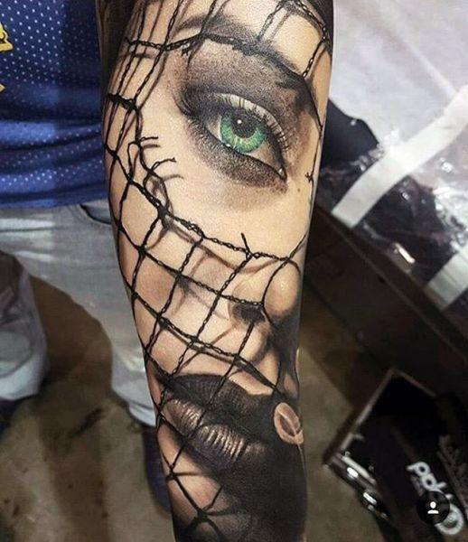 tattoo 3d green eyed girl