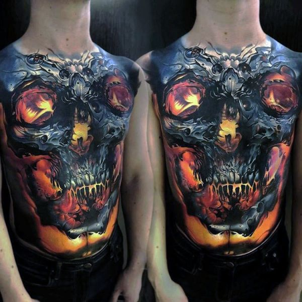 skull mens full chest tattoo