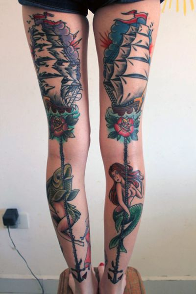 sailor girl legs tattoo