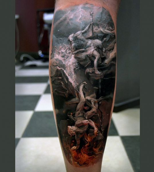 poseidon art leg tattoo