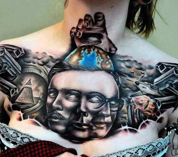 3d chest tattoo for women