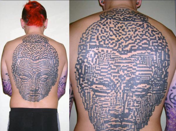 pixel buddha tattoo