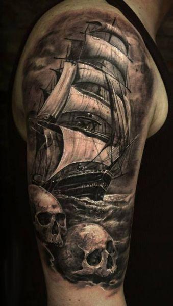 tatuaże pirackie na ramie 3d